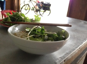 Lunch...rice noodle soup with fresh herbs.